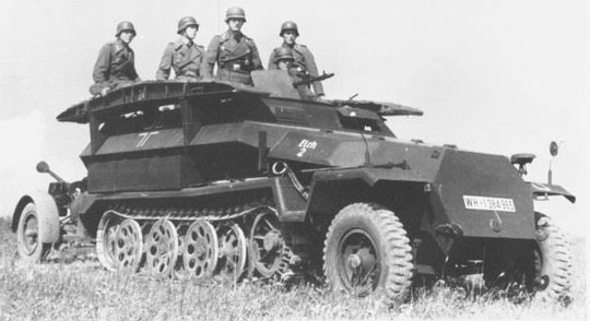 Half track troop carriers